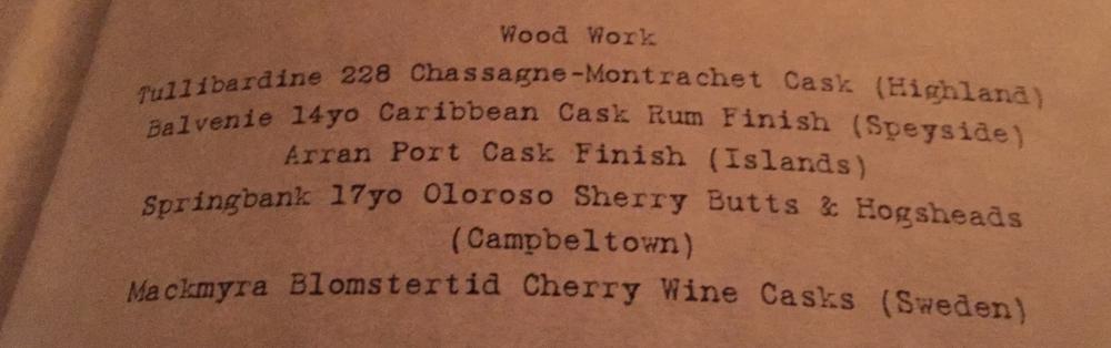 photo of a menu of whiskies