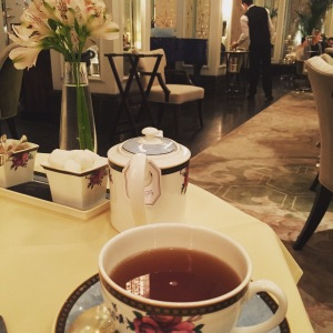 a cup of tea at Palm Court, the Langham, London