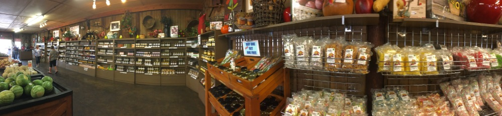 Panographic photo of the farm store at Huber's
